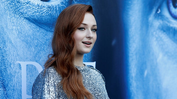 """Cast member Sophie Turner poses at a premiere for season 7 of the television series """"Game of Thrones"""" in Los Angeles, July 12, 2017."""