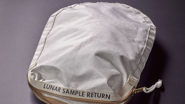 Sotheby's will auction a moon dust-stained Apollo 11 lunar sample return bag, which the firm estimates will sell for $2 to $4 million, on Thursday, July 20, 2017 in New York.
