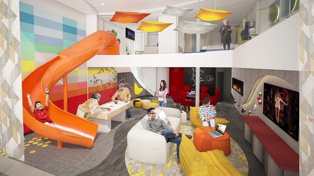 The Ultimate Family Suite on the Spectrum of the Seas will accommodate up to 11 guests and include an in-suite slide from the upper level to the living area below.