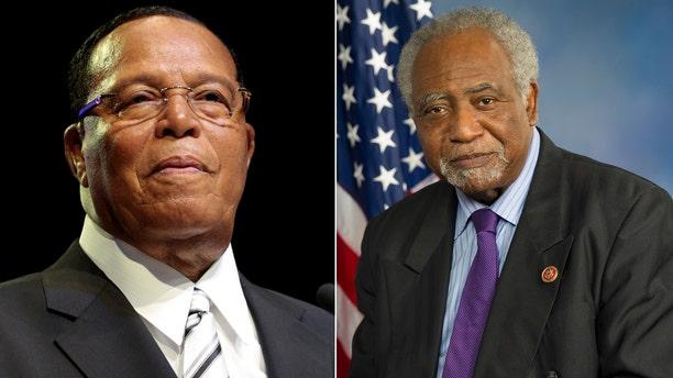 Louis Farrakhan, left; Rep. Danny Davis, right.