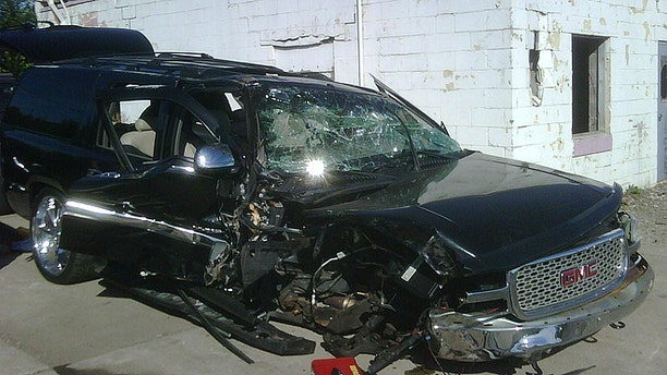 Standberry's car was totaled when the man he shot crashed into a tree and died. (Courtesy of Darrell Standberry)