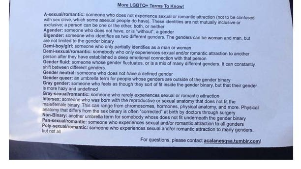 Students at Acalanes High School were given a handout with LGBT terminology – including words like pan-sexual, demi-boy and gray gender.