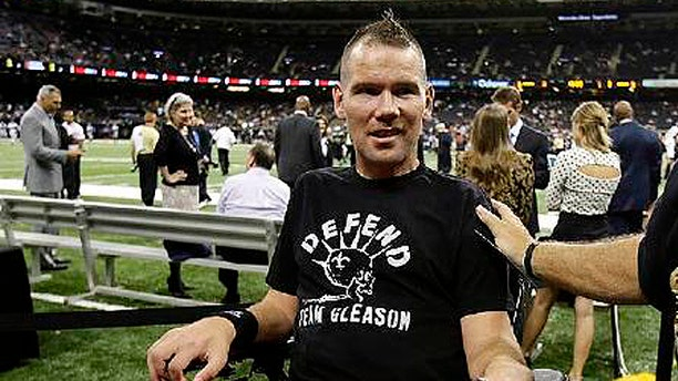 Steve Gleason, who played for the New Orleans Saints between 2000 and 2006, suffers from amyotrophic lateral sclerosis. ALS patients lose the ability to speak and move, which has happened to the 36-year-old Gleason, who is seen here in 2012. (AP)