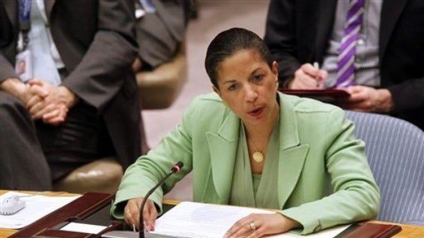 U.S. Ambassador Susan Rice speaks at a United Nations Security Council meeting at UN headquarters Thursday, March 17, 2011.