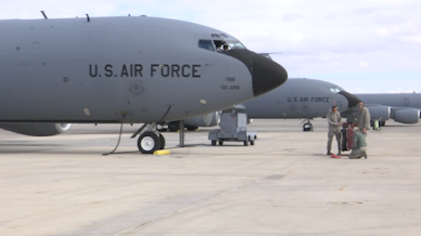 """A KC-135 stratotanker sits on the tarmac at Nellis Air Force Base during Red Flag training exercises. Called the """"gas station"""" of the sky."""