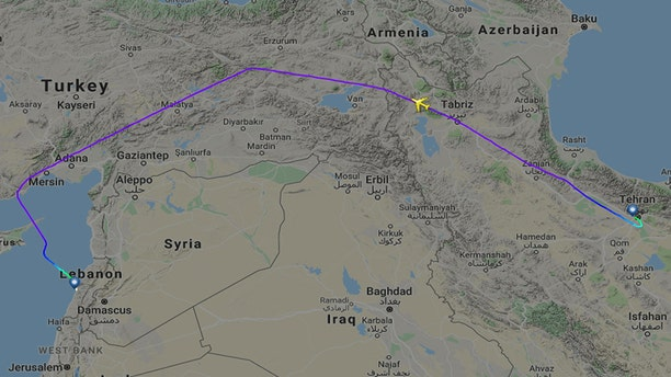 Another aircraft flew directly from Tehran to Beirut, following an unusual path.