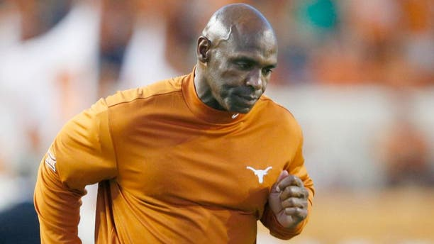 Sep 10, 2016; Austin, TX, USA; Texas Longhorns head coach Charlie Strong runs off the field at the end of the first half against the University of Texas at El Paso Miners at Darrell K Royal-Texas Memorial Stadium. Mandatory Credit: Erich Schlegel-USA TODAY Sports
