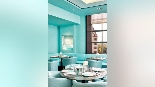 The interior of the Blue Box Cafe was deliberately designed to make guests feel like they're dining inside a Tiffany's box.