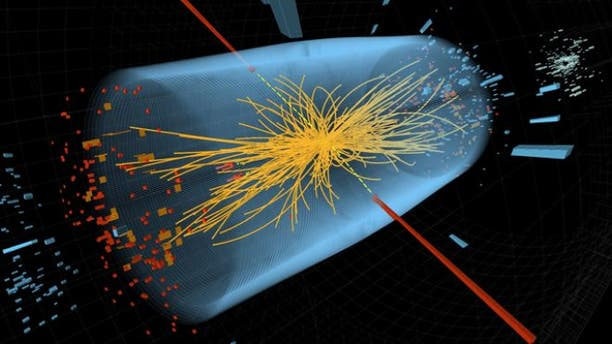 Dec. 10, 2011: Two high-energy photons shown as red towers are smashed together in the LHC. The yellow lines are the measured tracks of other particles produced in the collision -- possible evidence in the hunt for the Higgs Boson.  Read more: http://www.foxnews.com/scitech/2011/12/13/search-closes-in-on-elusive-higgs-particle/#ixzz1oRVvyJhr