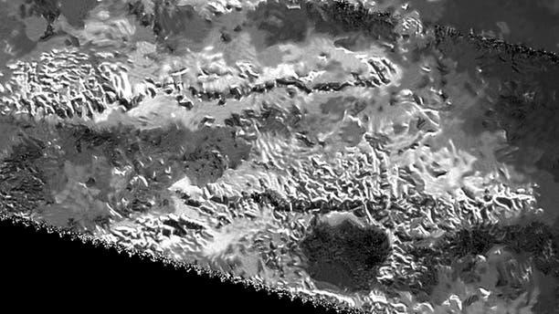 The trio of ridges on Titan known as Mithrim Montes is home to the hazy Saturnian moon's tallest peak. (NASA/JPL-Caltech/ASI)
