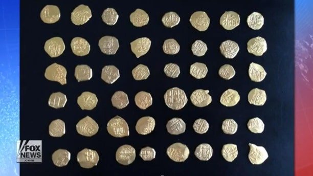 Gold coins discovered in mid-July from the same 1715 ship wreckage off the coast of Florida.