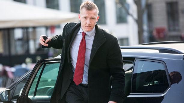 Prosecutor Jakob Buch-Jepsen arrives for the penultimate hearing in the case against Peter Madsen at the Copenhagen City Council in Copenhagen, Denmark Monday, April 23, 2018.