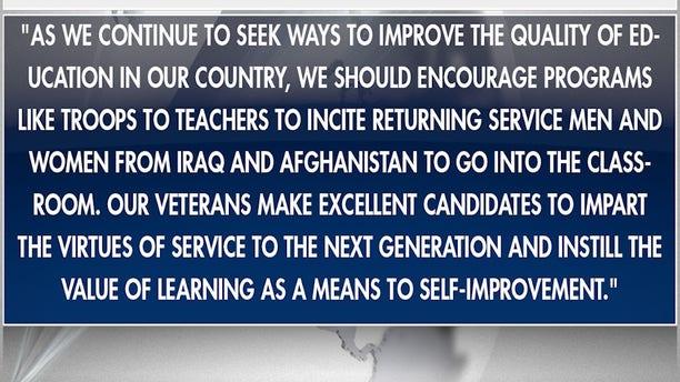 Senator John McCain statement in 2009 on Troops to Teachers program