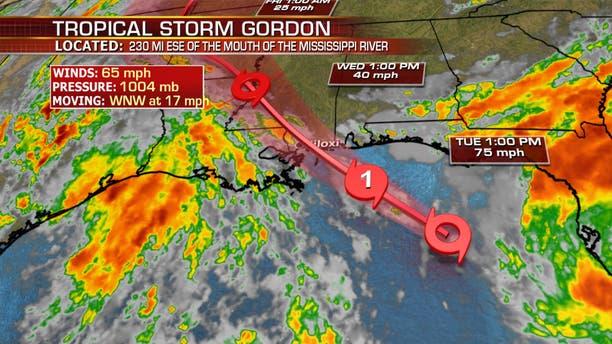 The forecast track of Tropical Storm Gordon.