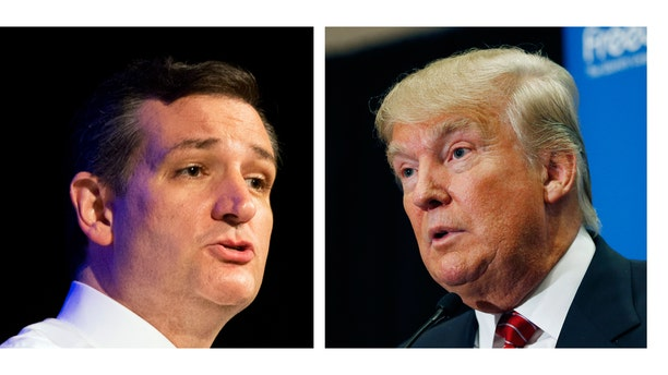"""FILE - This two picture combo of file photos shows Republican presidential candidate, Sen. Ted Cruz, R-Texas, left, and Donald Trump. Trump and Cruz are planning to appear together at an upcoming Capitol Hill rally against the proposed nuclear deal with Iran. Trump announced the event during an appearance Thursday in South Carolina, saying it would be """"in the next few weeks.""""  (AP Photo/File)"""