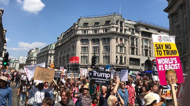 Thousands protested President Trump's London visit Friday.
