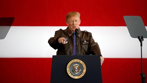 U.S. President Donald Trump addresses members of U.S. military and Japan Self-Defense Force (JSDF) at U.S. Air Force Yokota Air Base in Fussa, outside Tokyo,  Nov. 5, 2017.