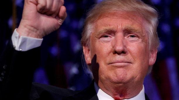 U.S. President-elect Donald Trump speaks at his election night rally in Manhattan, New York, U.S., Nov. 9, 2016. (REUTERS/Carlo Allegri)