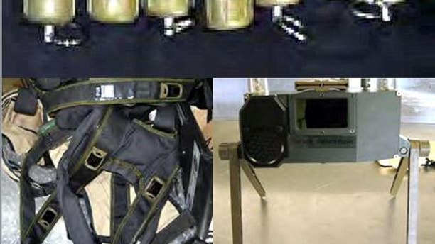 This realistic replica suicide vest and claymore mine were found in a checked bag at El Paso.