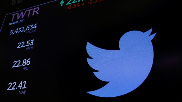 The Twitter logo and stock prices are shown above the floor of the New York Stock Exchange shortly after the opening bell in New York, U.S., January 23, 2018.  REUTERS/Lucas Jackson - RC174055D130