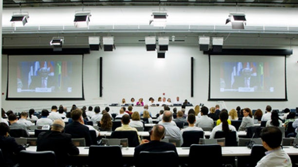 United Nations employees attend the ceremony marking the Umoja launch at the UN headquarters in New York on July 1, 2013.