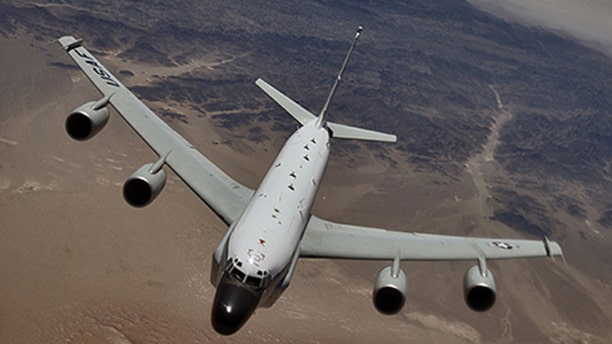A U.S. Air Force RC-135 recon plane was buzzed by a Russian jet on Monday.