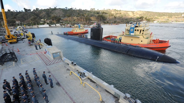 The Los Angeles-class fast-attack submarine USS Alexandria (SSN 757) arrives pierside in its new homeport of San Diego.