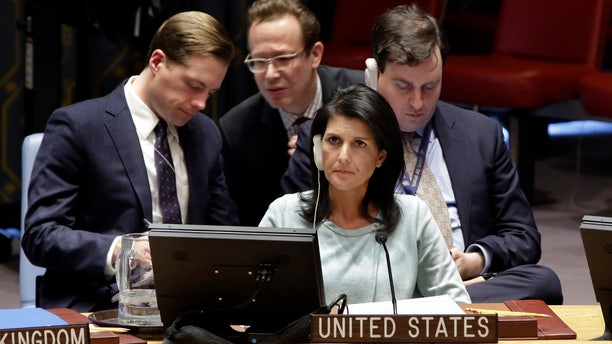 Feb. 2, 2017: The new U.S. Ambassador to the U.N., Nikki Haley, and members of the delegation listen during a Security Council meeting of the United Nations
