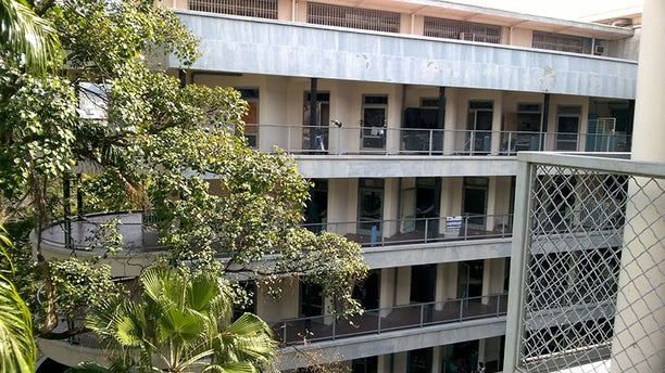 Outside the Clinical University Hospital of Caracas (HUC).
