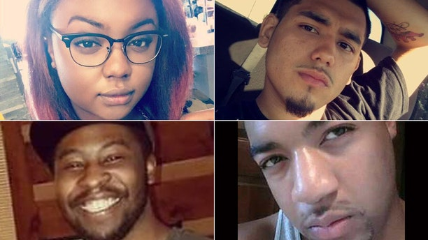 From top to bottom, left to right: DeEbony Groves, Joe Perez, Akilah DaSilva and Taurean Sanderlin were killed on Sunday after a gunman opened fire at a Waffle House in Antioch, Tennessee.