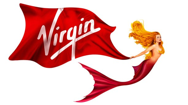 The mermaid logo was inspired by figureheads on historic vessels, Virgin Voyages says.