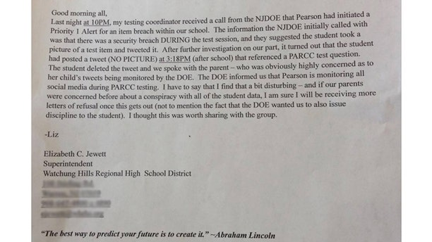 A copy of the leaked letter penned by a NJ school superintendent over Pearson's monitoring of students' social media.