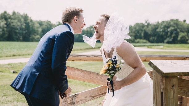 A bride surprised her groom on their wedding day by sending out the best man for the first look photos.
