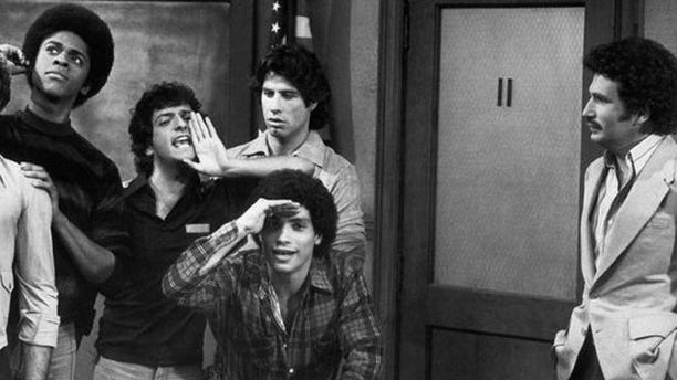 Ron Palillo (center with hand to his mouth) played Horshack on the popular 1970s sitcom 'Welcome Back Kotter.'