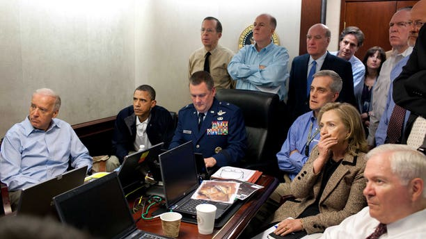 May 1: Secretary of State Hillary Rodham Clinton, President Barack Obama and Vice President Joe Biden, along with with members of the national security team, receive an update on the mission against Usama bin Laden in the Situation Room of the White House.
