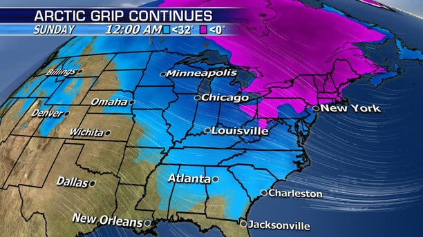 A forecast map showing temperatures expected by midnight on Sunday across the country.