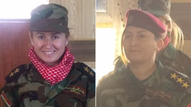 Khider, (r.), leads more than 100 Yazidi women, many of who escaped sexual slavery. On left is one of her fighters.