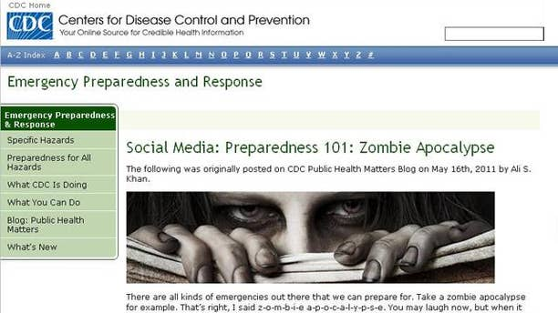 """A screenshot of the website for the Centers for Disease Control, which were swamped by a massive wave of traffic following the tongue-in-cheek warning of an impending """"zombie apocalypse."""""""