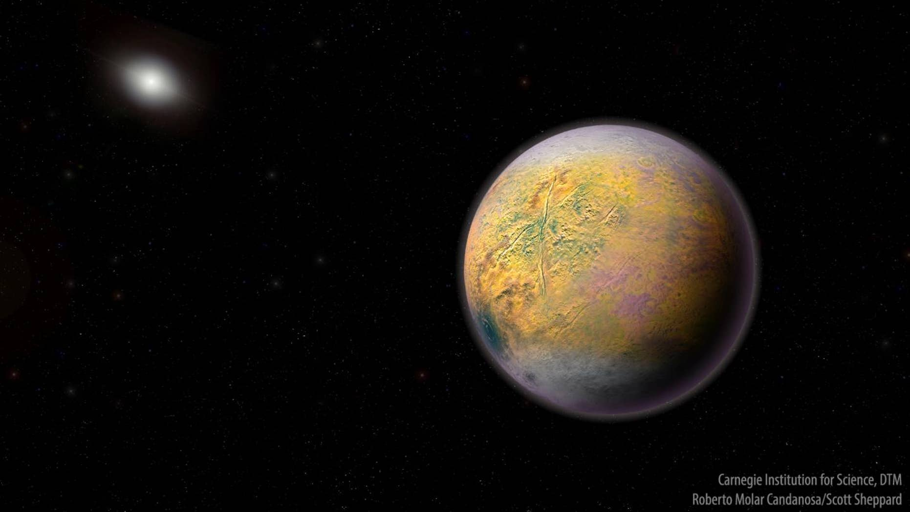 An artist's conception of a distant Solar System Planet X, which could be shaping the orbits of smaller extremely distant outer Solar System objects like 2015 TG387 discovered by a team of Carnegie's Scott Sheppard, Northern Arizona University's Chad Trujillo, and the University of Hawaii's David Tholen.