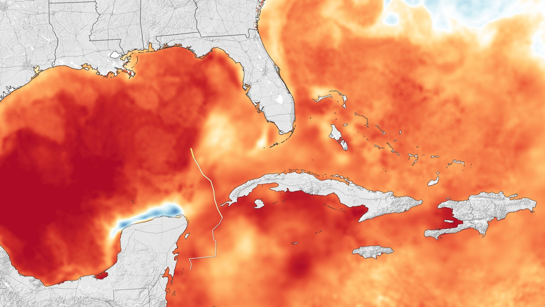 NASA Earth Observatory images by Joshua Stevens and Lauren Dauphin, using sea surface temperature data from Coral Reef Watch, storm track information from Weather Underground and MODIS data from NASA EOSDIS/LANCE and GIBS/Worldview.