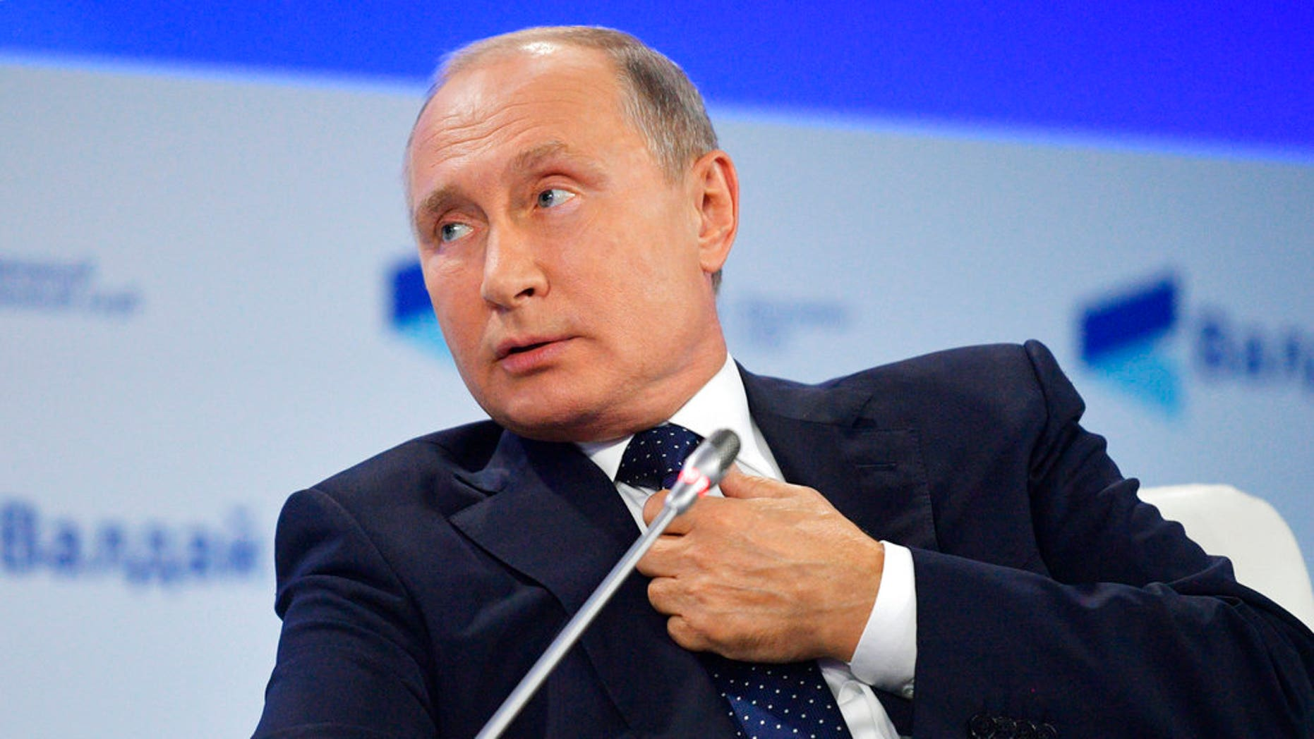 FILE: Russian President Vladimir Putin speaking at a meeting of the Valdai International Discussion Club in Sochi, Russia.