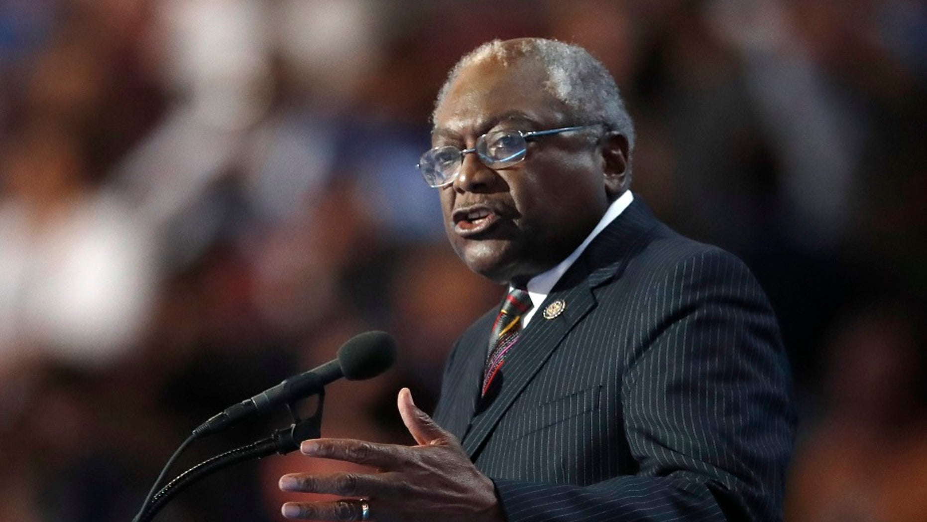 FILE - Rep. James Clyburn, D-SC, speaks during the final day of the Democratic National Convention in Philadelphia.