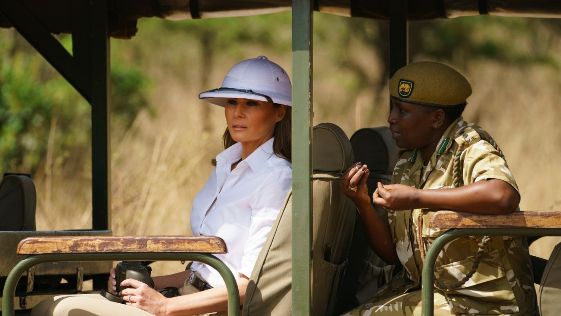 Melania Trump was criticized after she was spotted wearing a white pith helmet during her trip to Africa.