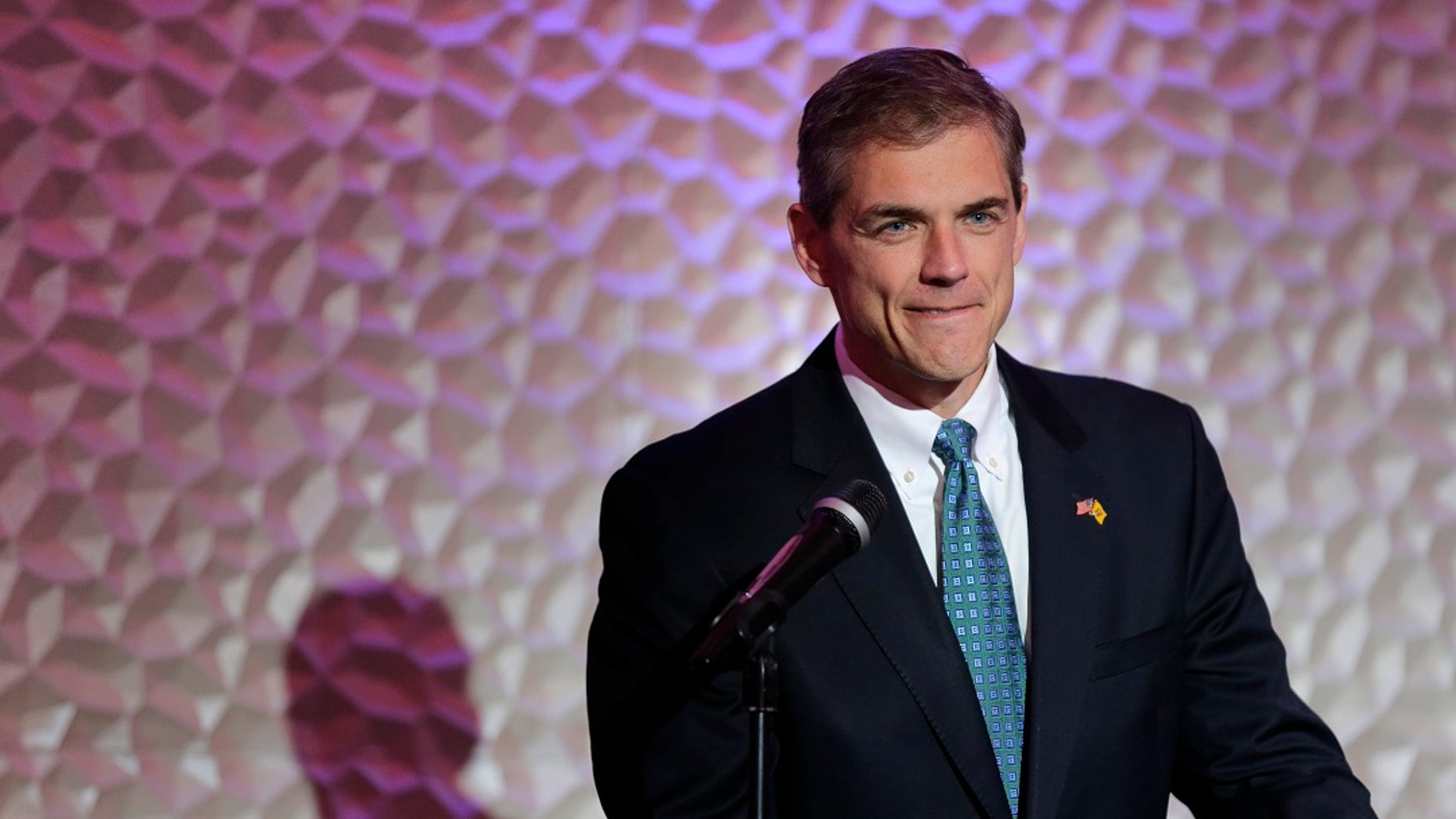 Republican congressional candidate Jay Webber speaks at a reception in Wayne, N.J.