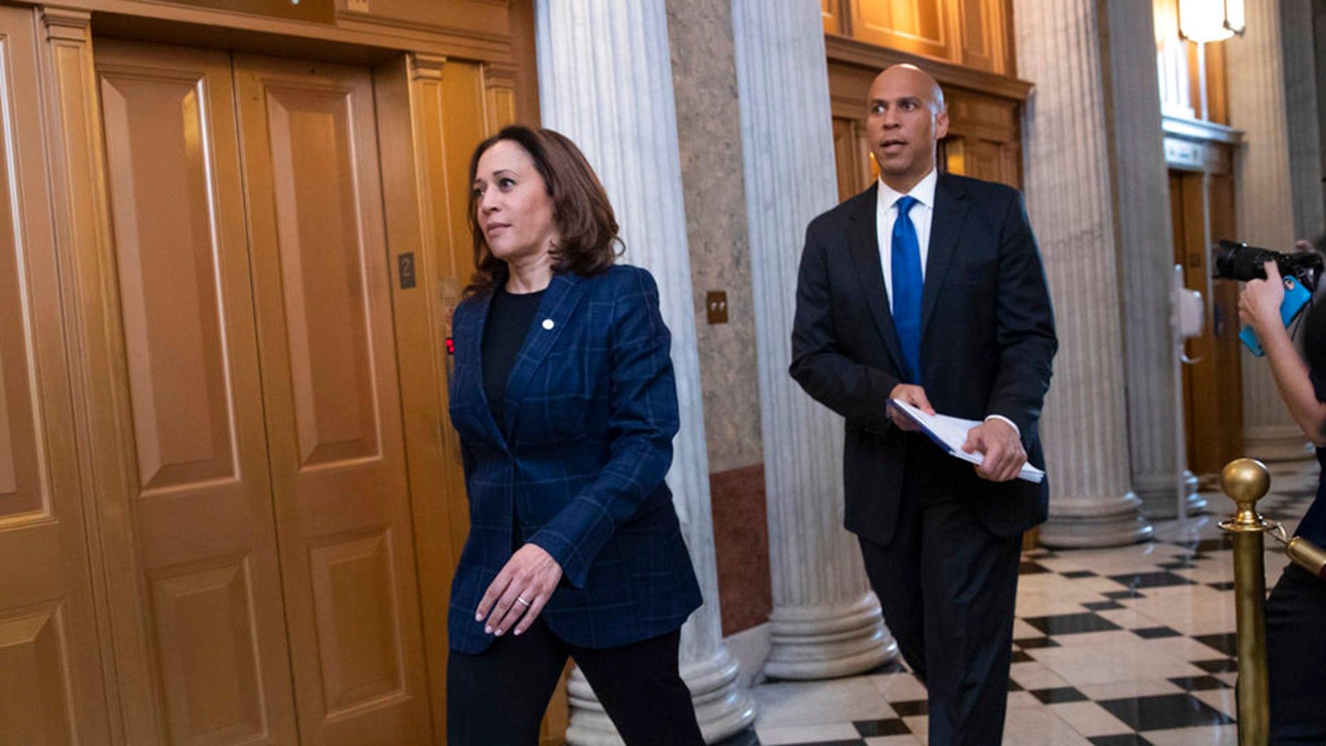 Sen. Kamala Harris, left, is proposing a new tax credit.