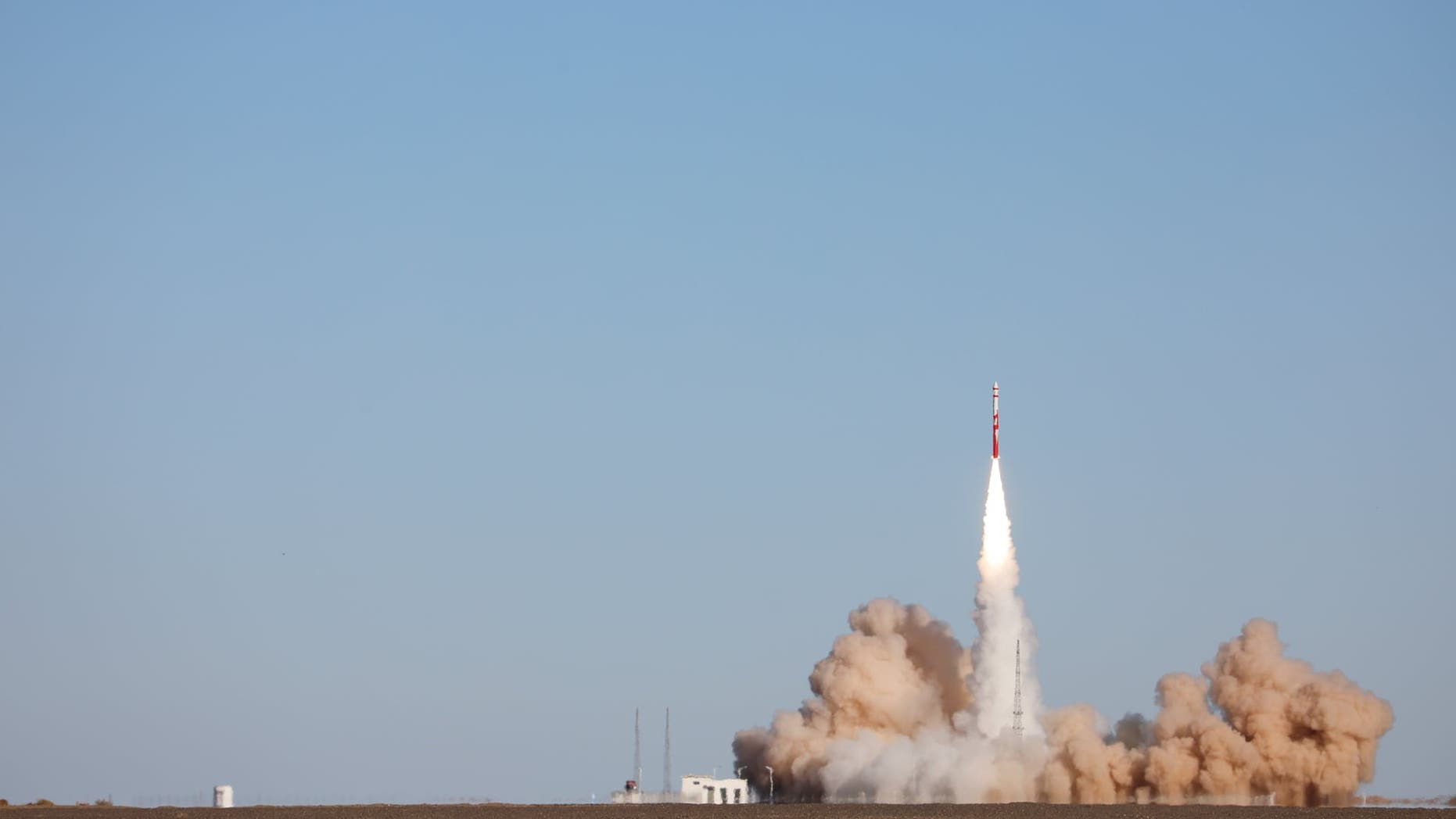 China's first private carrier rocket ZQ-1 blasts off in Jiuquan, Gansu province, before failing.