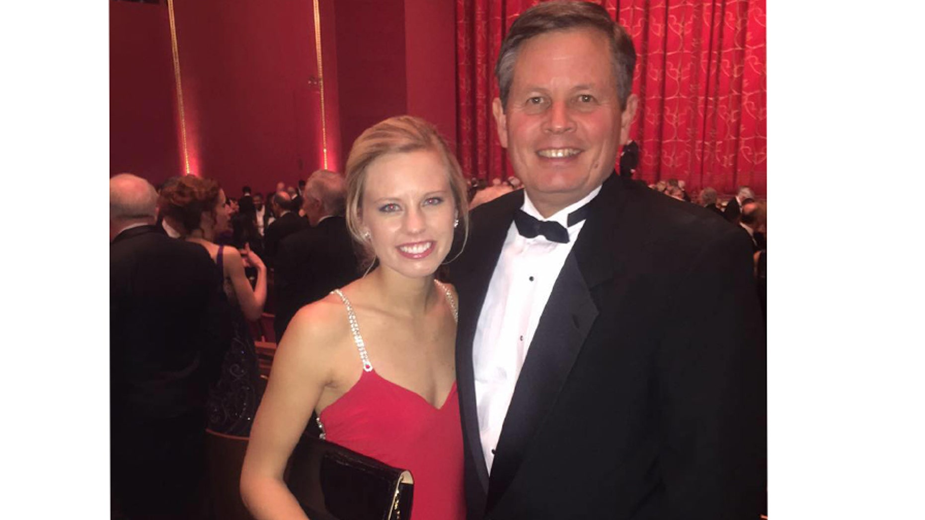 Republican Sen. Steve Daines, right, will attend his daughter Annie's wedding, left, on Saturday in Montana. He will be back at the Capitol to vote to confirm Judge Kavanaugh to the high court if his vote is needed.