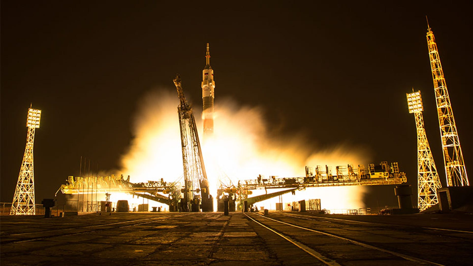 File photo - In this one-second exposure photograph, the Soyuz MS-03 spacecraft is seen launching from the Baikonur Cosmodrome with Expedition 50 crewmembers NASA astronaut Peggy Whitson, Russian cosmonaut Oleg Novitskiy of Roscosmos, and ESA astronaut Thomas Pesquet from the Baikonur Cosmodrome in Kazakhstan, Friday, Nov. 18, 2016.