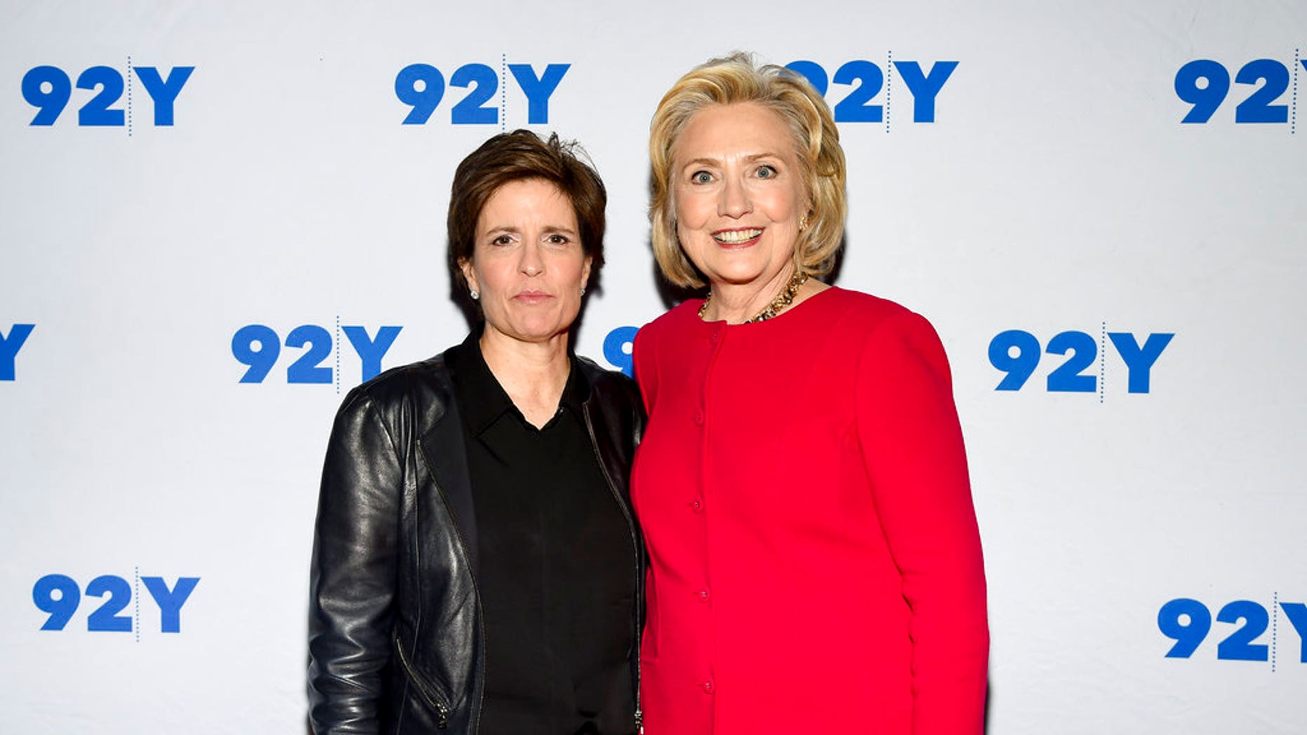 FILE: Former Secretary of State Hillary Clinton poses backstage with moderator Kara Swisher before their conversation at the 92nd Street Y.