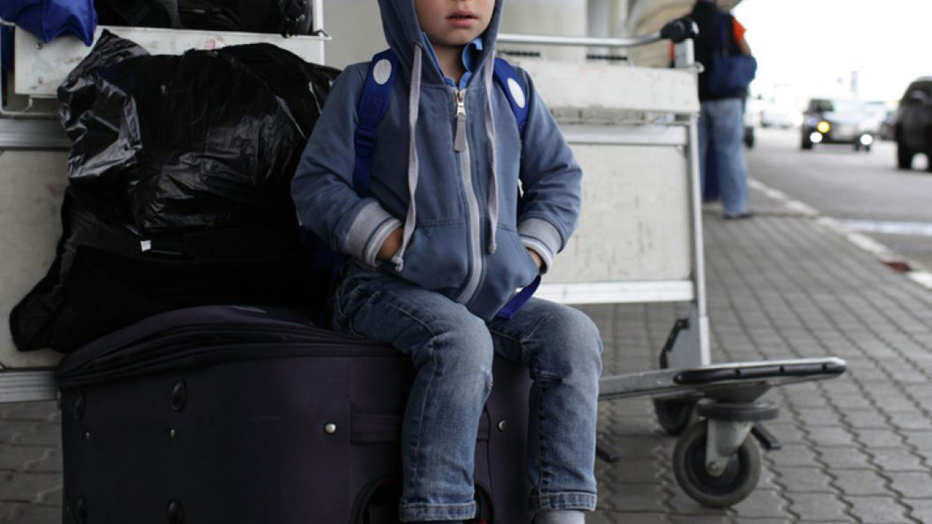 Reutlingen police said Tuesday that officers spotted the child wandering aimlessly and alone around the terminal.